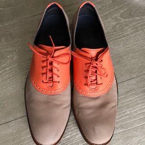 Cole Haan Taupe & Orange Saddle Shoe Mens 10